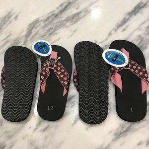 Girls size 12 and 1 flip flops